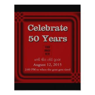 50 años de viejas de la cabra de la celebración invitación 10,8 x 13,9 cm