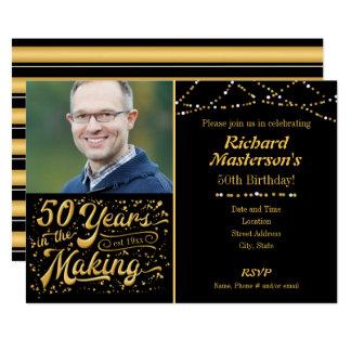 50 años en el cumpleaños de fabricación del negro invitación 12,7 x 17,8 cm