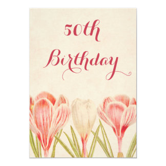 50.as azafranes de la primavera del cumpleaños de invitación 12,7 x 17,8 cm