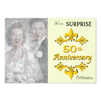 (50.as) invitaciones de oro de la fiesta de invitación 12,7 x 17,8 cm