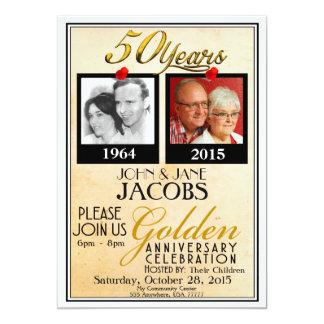 50.as invitaciones de oro del aniversario de boda invitación 12,7 x 17,8 cm