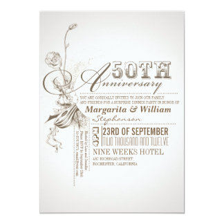 50.as invitaciones del aniversario de la invitación 12,7 x 17,8 cm