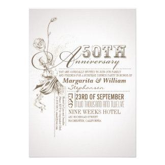 50.as invitaciones del aniversario de la tipografí comunicado personalizado
