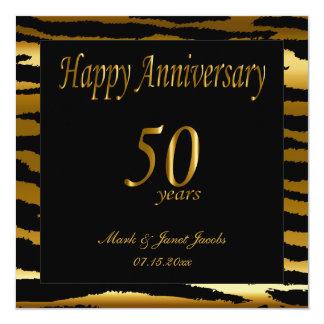 50.as rayas felices de la cebra del aniversario el invitación 13,3 cm x 13,3cm