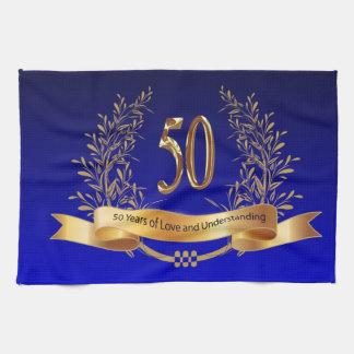 50.as toallas de cocina felices del aniversario de