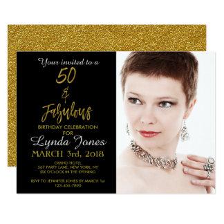 50 e invitación fabulosa del cumpleaños de la hoja