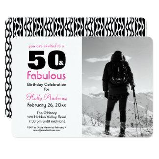 50 e invitación fabulosa del fiesta con la foto de