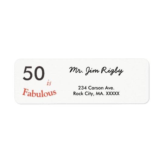 50 es 50.a etiqueta fabulosa del cumpleaños