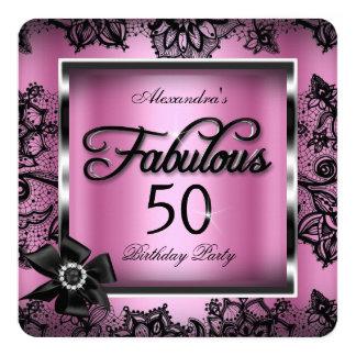 50 fabulosos van de fiesta la perla rosada del invitación 13,3 cm x 13,3cm