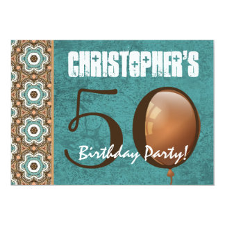 50.o Aguamarina de la fiesta de cumpleaños y Invitación 12,7 X 17,8 Cm