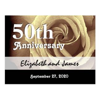 50.o Aniversario de boda A016 subió oro elegante Postal