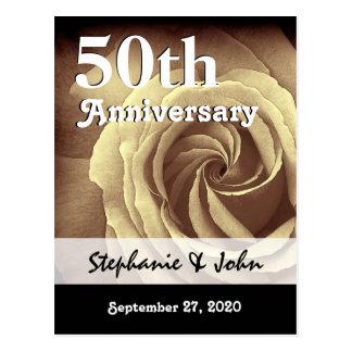 50.o Aniversario de boda A018 subió oro elegante Postal