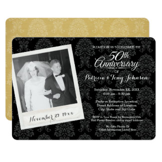 50.o Aniversario de boda con la foto del vintage Invitación 12,7 X 17,8 Cm