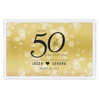 50.o aniversario de boda de oro elegante bandeja acrílica