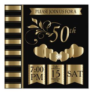 50.o aniversario de boda de oro feliz invitación 13,3 cm x 13,3cm