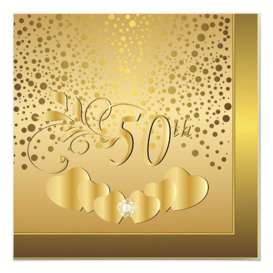 50.o Aniversario de boda de oro Invitación 13,3 Cm X 13,3cm