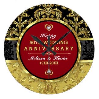 50.o Aniversario de boda del oro Reloj Redondo Grande