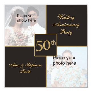 50.o Aniversario de boda entonces y ahora imágenes Invitación 13,3 Cm X 13,3cm