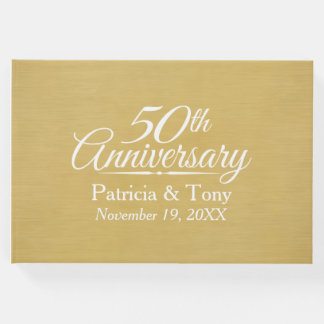 50.o Aniversario de boda - fondo cepillado del oro Libro De Visitas