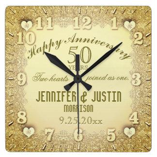 50.o Aniversario de boda Reloj Cuadrado