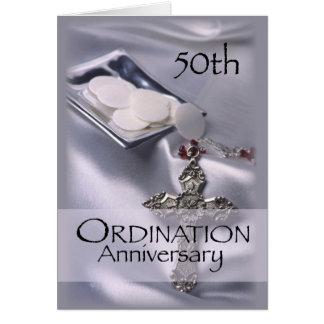 50.o Aniversario de la ordenación con la cruz y Tarjeta De Felicitación