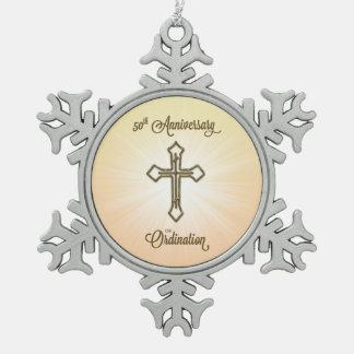 50.o Aniversario de la ordenación, cruz del oro en Adorno De Peltre En Forma De Copo De Nieve