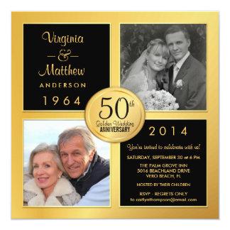 50.o Aniversario de oro con las fotos últimas y Invitación 13,3 Cm X 13,3cm
