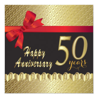 50.o aniversario de oro feliz invitación 13,3 cm x 13,3cm