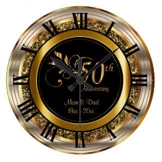 50.o aniversario de oro hermoso reloj redondo grande