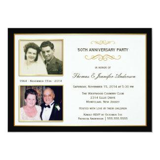 50.o Aniversario entonces y ahora invitaciones de Invitación 11,4 X 15,8 Cm