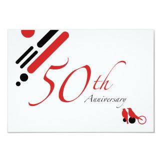 50.o Aniversario (pájaros de la MOD) Invitación 8,9 X 12,7 Cm