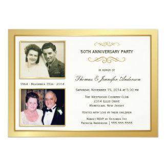 50.o Aniversario último y actuales invitaciones de Invitación 11,4 X 15,8 Cm