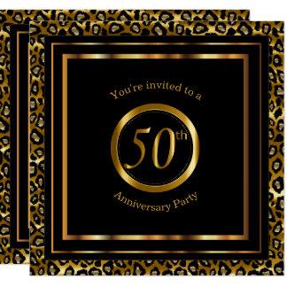 50.o Años de oro con el modelo del leopardo Invitación 13,3 Cm X 13,3cm
