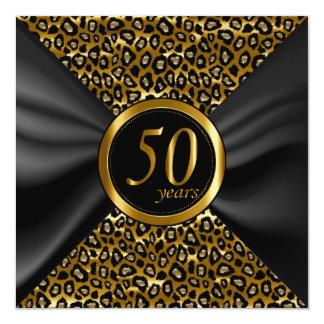 50.o Años de oro con satén negro Invitación 13,3 Cm X 13,3cm