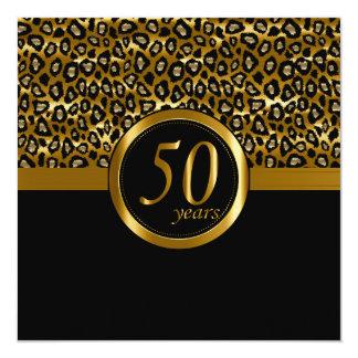 50.o Años de oro de estampado de animales del Invitación 13,3 Cm X 13,3cm