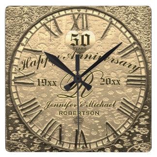 50.o Antigüedad del vintage del aniversario de Reloj Cuadrado