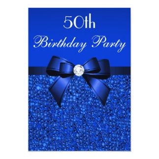 50.o Arco y diamante de las lentejuelas del azul Invitación 12,7 X 17,8 Cm
