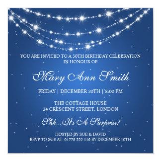 50.o azul de cadena chispeante de la fiesta de invitación 13,3 cm x 13,3cm