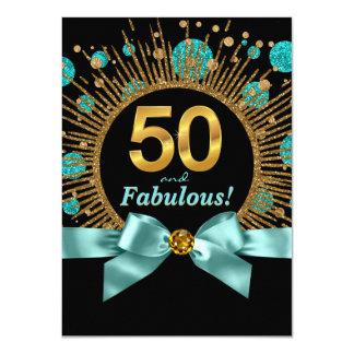 50.o azul y oro del trullo del cumpleaños de la invitación 11,4 x 15,8 cm