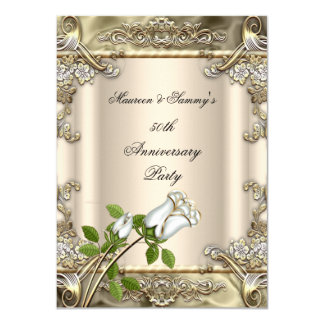 50.o Beige subió boda del oro del aniversario Invitación 11,4 X 15,8 Cm