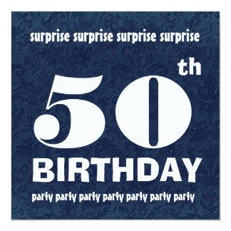 50.o Blanco azul W1443 de la fiesta de cumpleaños Invitación 13,3 Cm X 13,3cm