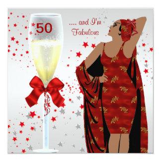 50.o Blanco rojo del art déco retro de la diva de Invitación 13,3 Cm X 13,3cm