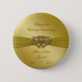 50.o botón de oro clásico del aniversario de boda