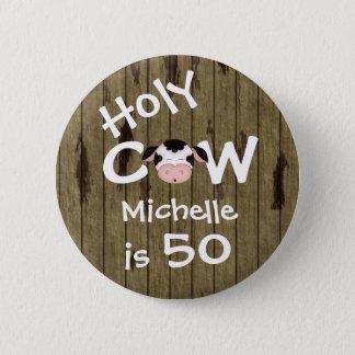 50.o botón personalizado del cumpleaños de la vaca