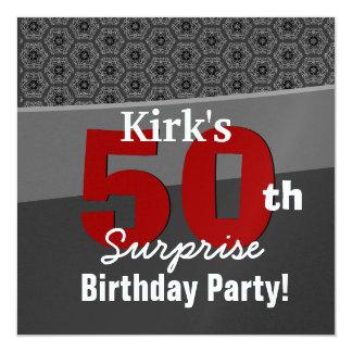 50.o Carbón de leña del cumpleaños de la sorpresa Invitación 13,3 Cm X 13,3cm