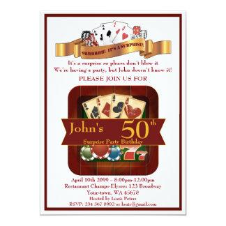 50.o, casino del hombre del cumpleaños, fiesta de invitación 12,7 x 17,8 cm