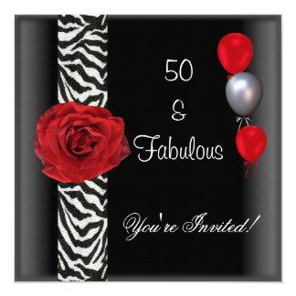 50.o Cebra blanca del rosa rojo del negro de la Invitación 13,3 Cm X 13,3cm