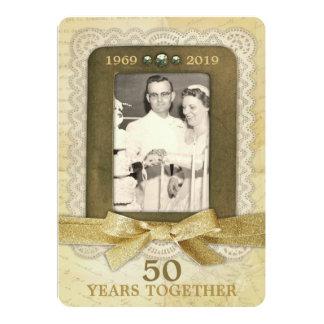 50.o Collage del aniversario de boda de oro 1 foto Invitación 12,7 X 17,8 Cm