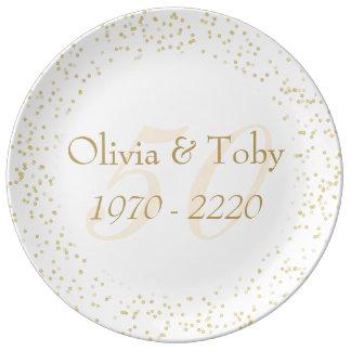 50.o Confeti del polvo de oro del aniversario de Plato De Porcelana