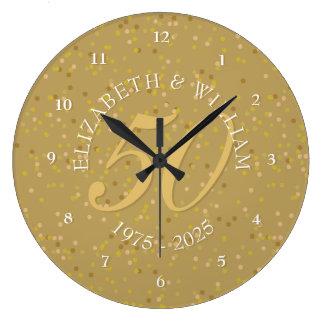 50.o Confeti del polvo de oro del aniversario de Reloj Redondo Grande